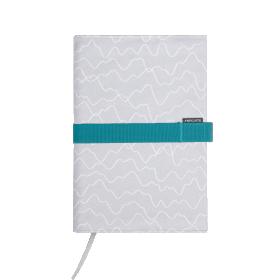 Deník v látkovém obalu - vlnky na šedé