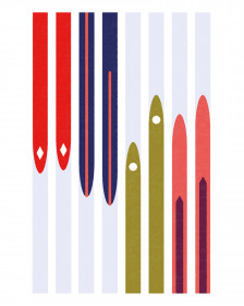 Pavel Fuksa Postcard - Skis