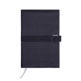 Deník v látkovém obalu - čárky na černé