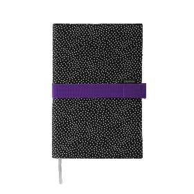 Deník v látkovém obalu - tečky na černém